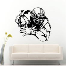 цена на Football Player Wall Sticker Home Decoration Sports Wall Art Mural Football Soccer Wall Decal Athlete Player Wall Poster AY1773