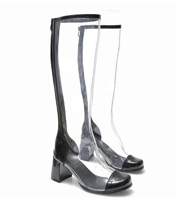 2018 spring and autumn new women clear transparent splicing long boots Fashion square toe medium heel knee-high boots lady shoes