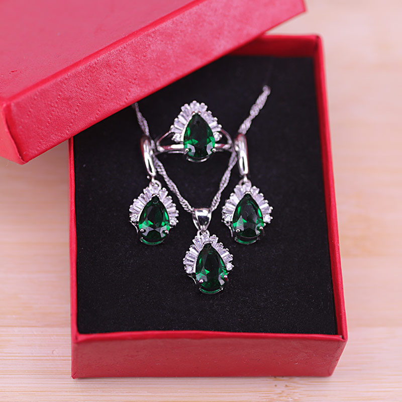 Colors Wholesale Austrian Crystal  Silver Color Costume Jewelry Set Water Drop Pendant Necklace Earring Jewelry Women