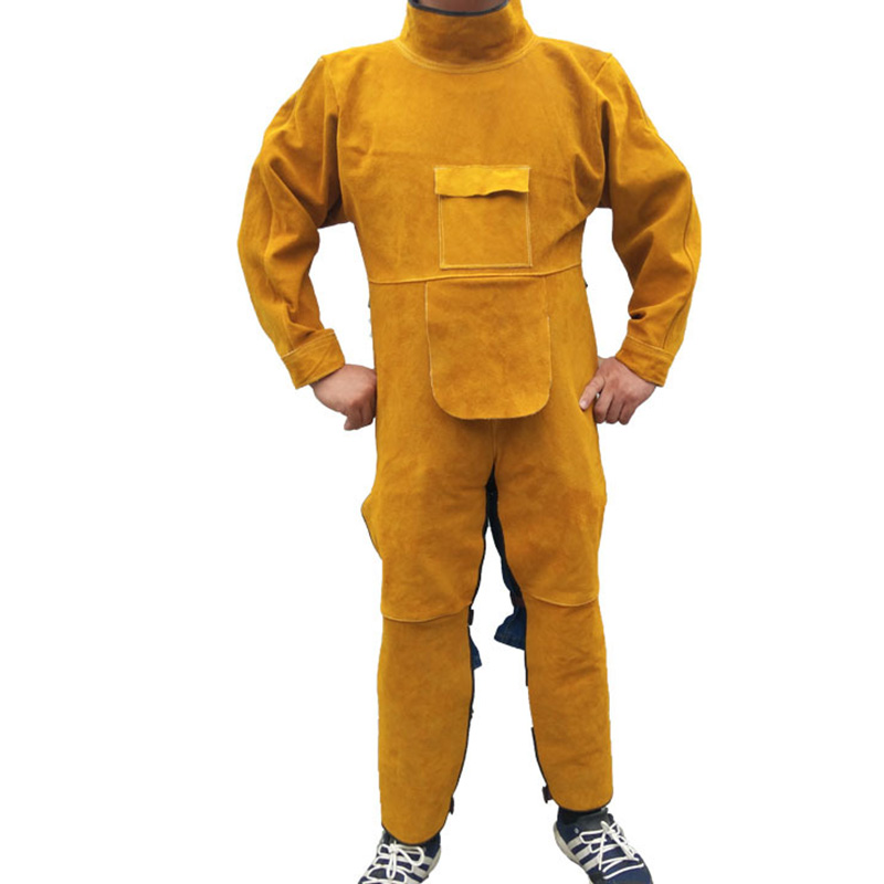 Durable Leather Welding Long Coat Workplace Safety Clothing Apron Protective Clothing Apparel Suit Welder