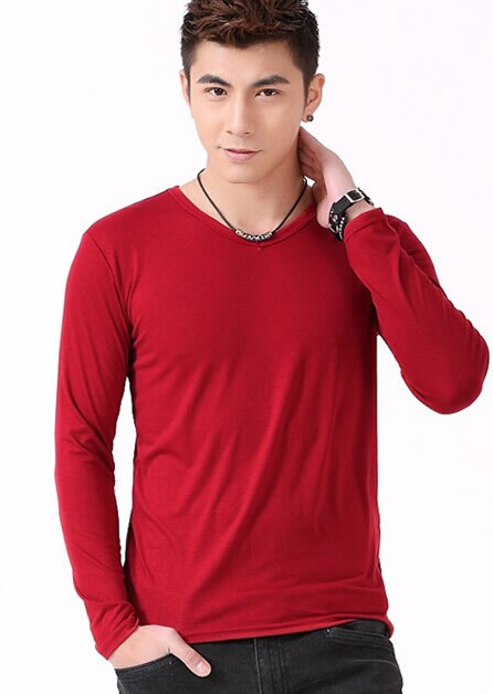 Plain t Shirt Solid Top Quality Tees Casual Full Sleeve t Shirt Men Loose  Elasticity Long 97a03263bbf