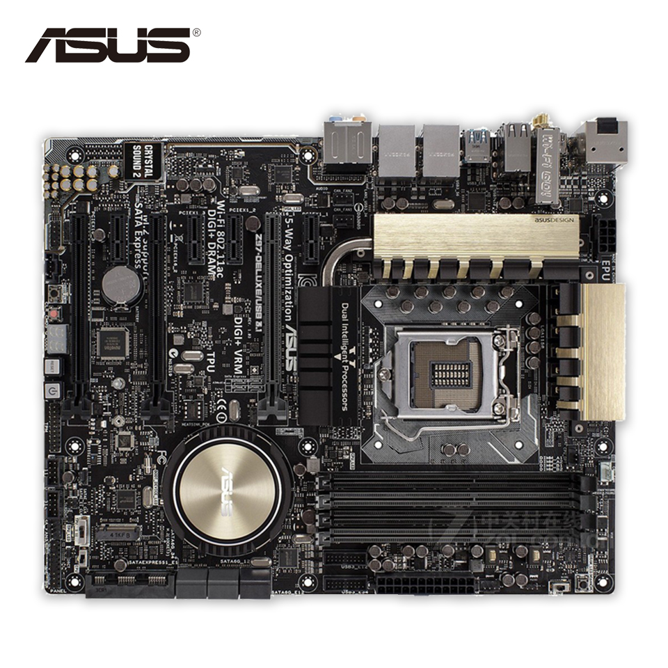 Original Used Asus Z97-DELUXE-USB3.1 Desktop Motherboard Z97 Socket LGA 1150 i7 i5 i3 DDR3 64G SATA3 ATX 100% Fully Test asus h87 plus deluxe board 1150 b85 motherboard