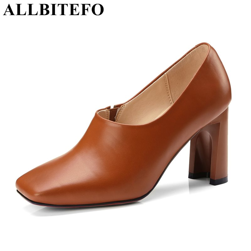 ALLBITEFO fashion brand genuine leather square toe thick heel women pumps high heel shoes spring pumps women party shoes allbitefo fashion brand genuine leather thick heel women pumps new spring pointed toe high heels ladies shoes sapatos femininos