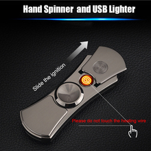 2018 Newly LED Hand Spinner Electric Lighter Rechargeable Electronic Cigarette Lighter Windproof Gadgets for Men USB Lighter