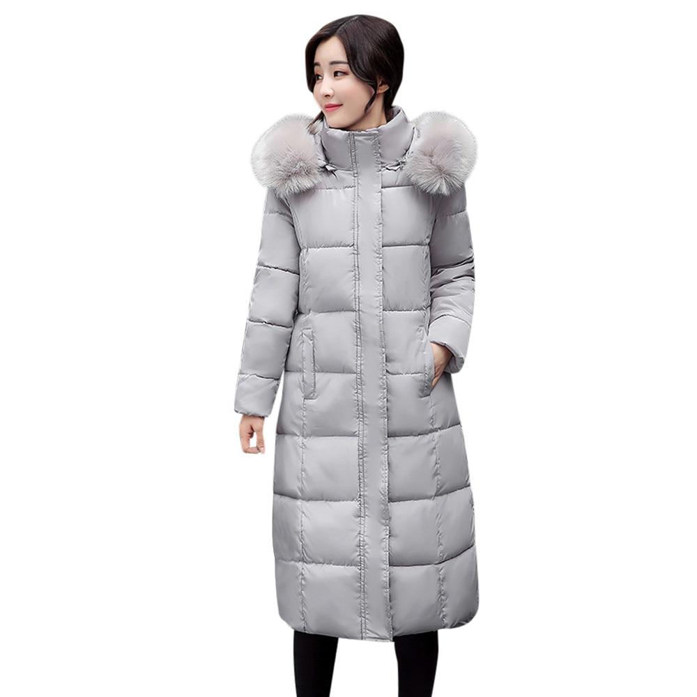 Hxroolrp Womens   Coat   Autumn Winter Hooded Thick Warm jaqueta Slim Overcoat Girl Faux Fur Hat jaquetas feminino chaqueta mujer C4