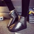 Ms. Noki inverno plataforma botas de neve mulheres à prova d' água quente botas de pelúcia tornozelo calcanhar plano de couro pu meninas de algodão escola sapatos mulher