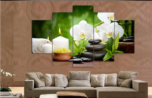 5 Panel Wall Art Oil Painting Stone White Flower Candels Home Decoration  Canvas Prints Pictures For