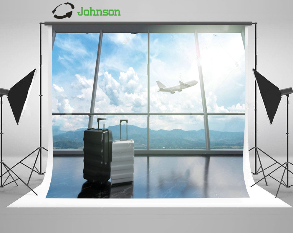 Traveler Suitcase Luggage Airport Airplane Flying Sky Clouds backdrop polyester or Vinyl cloth Computer print wall background