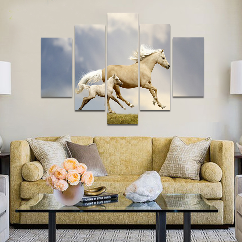 Unframed Canvas Animal Painting White Clouds Two Horses Picture Prints Wall Picture For Living Room Wall Art Decoration