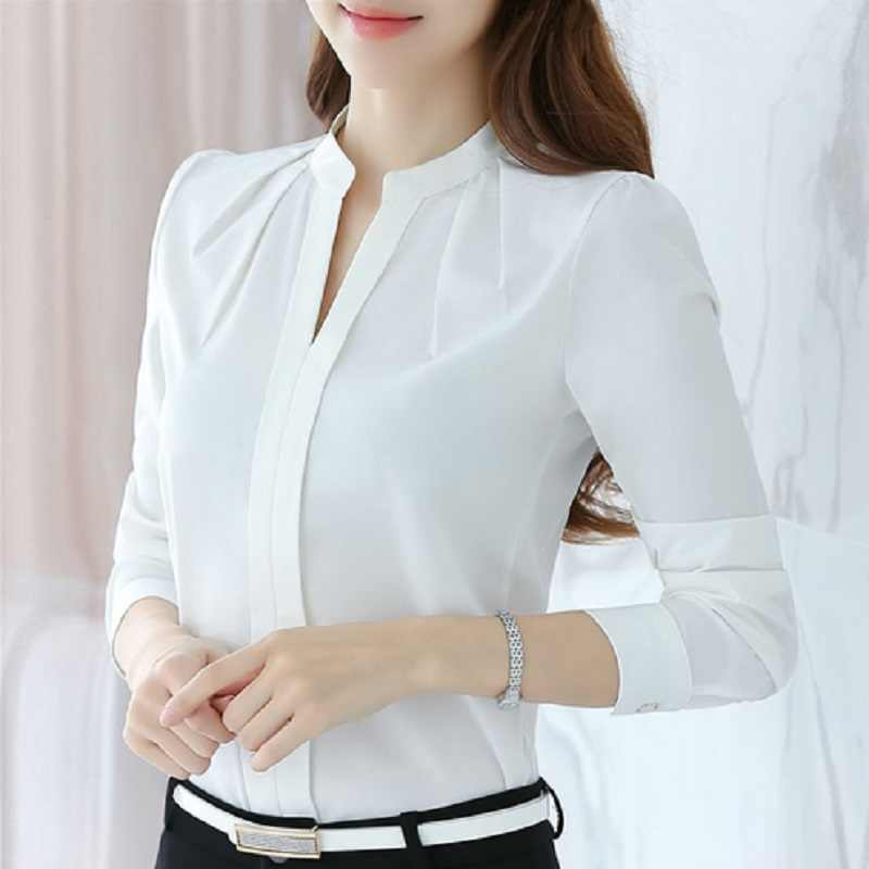 Fashion Women's Solid White Shirts Office Lady Workwear Spring Autumn Long Sleeve Chiffon Blouse Female Elegant V-Neck Tops