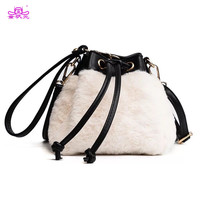 2017 Drawstring Bucket Bag Fur Shoulder Bags PU Leather Crossbody Messenger Bag Winter Vintage Bags Ladies