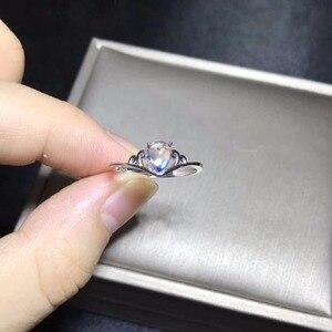 Image 3 - 자연 문스톤 반지, 푸른 광택, 925 실버 간단하고 절묘한, 작고 귀여운