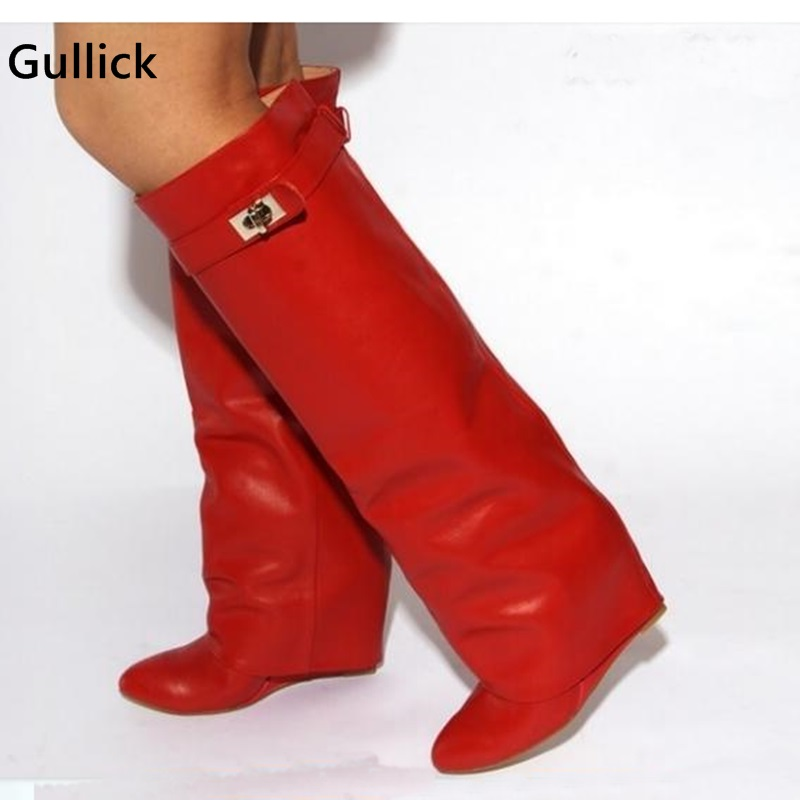 Red Boots Fold-Over Knee High Belted Boots Wedge Height Increase Hot Selling Boots 2019 Solid Multi-Color Winter Women Shoes