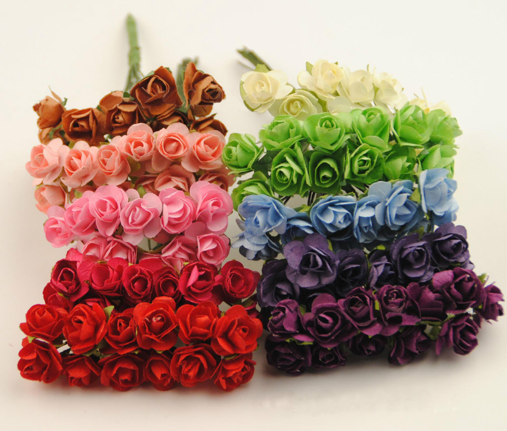 Diy craft decoration accessories for wedding party&scrapbooking&hair garland,1.5CM artificial paper mini real touch roses flower