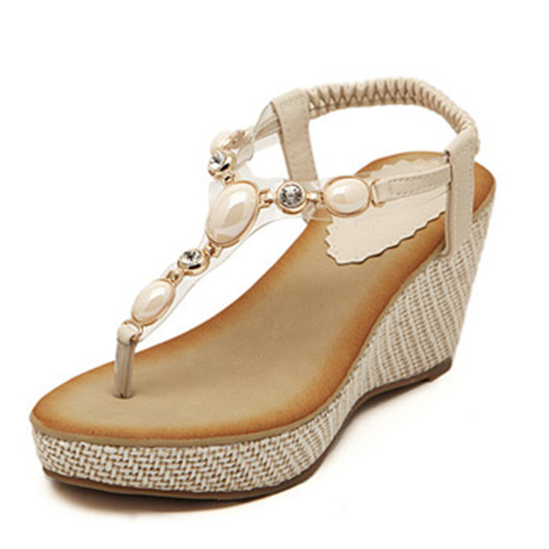 826dcf38062992 New summer 2015 comfortable leisure women high heels wedge thong sandals  women s shoes-in Women s Sandals from Shoes on Aliexpress.com