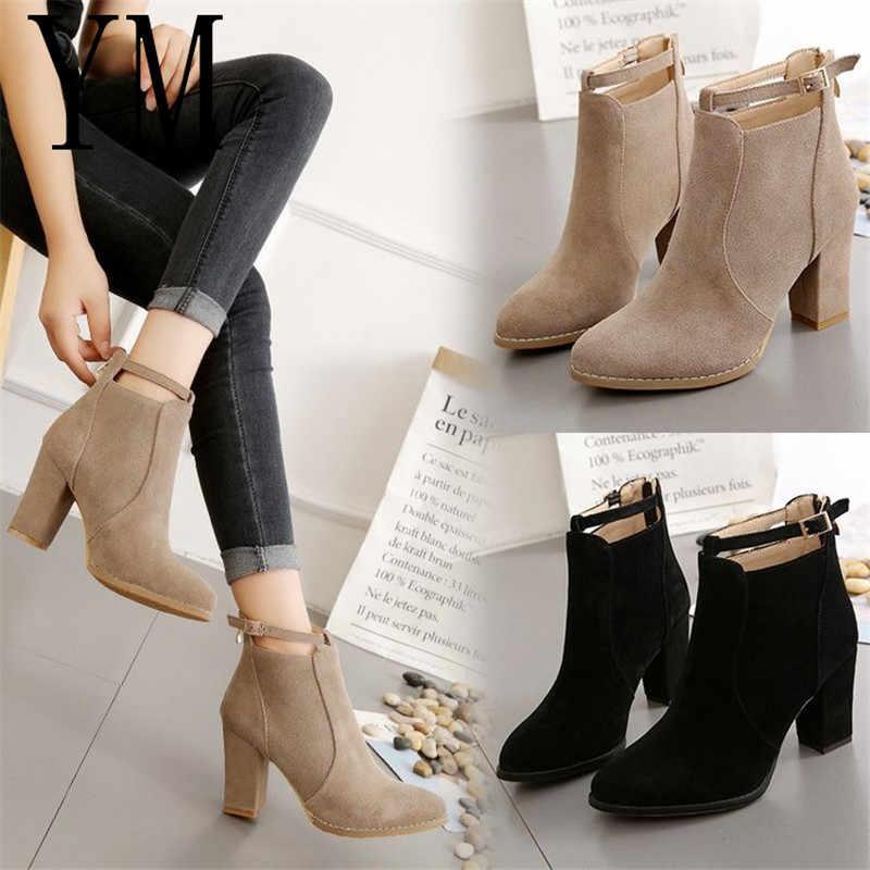Sıcak 3 Renk Kadın ayakkabı Kış Sonbahar Rahat Kadın Yüksek Topuklu Pompalar Sıcak yarım çizmeler Botas Ayakkabı Mujer Zapatos boyutu 34-39