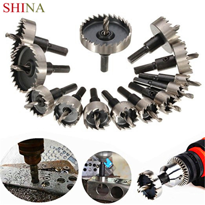 SHINA 13 Pcs HSS Drill Bit Hole Saw Set For Stainless High Speed Steel Metal Alloy 0.63-2.09 16-53mm new arrival 5pcs set hss drill bit hole saw set stainless steel metal alloy cutter 16 30mm wholesale price