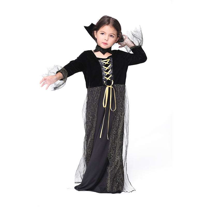 halloween girls costumes vampire queen children dress cosplay kids black mesh party dance dress bat queen - Halloween Costumes Vampire For Girls