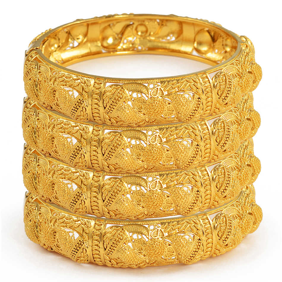 Anniyo 4pcs/Lot Dubai Wedding Bangles Ethiopian Jewelry Gold Color Africa Bracelets Women Arab Birthday Jewelry Gifts #199606