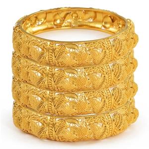 Image 1 - Anniyo 4pcs/Lot Dubai Wedding Bangles Ethiopian Jewelry Gold Color Africa Bracelets Women Arab Birthday Jewelry Gifts #199606