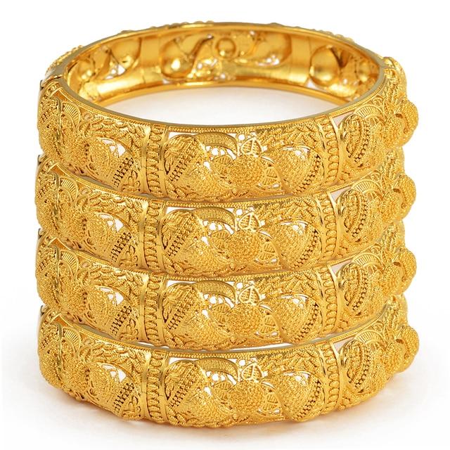 Anniyo 4pcs/Lot Dubai Wedding Bangles Ethiopian Jewelry Gold Color Africa Bracelets Women Arab Birthday Jewelry Gifts #199606