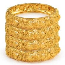 Anniyo Lote de 4 unidades de brazaletes para boda de Dubái, joyería etíope, brazaletes de Color dorado de África para mujer, regalos de joyería de cumpleaños árabe #199606