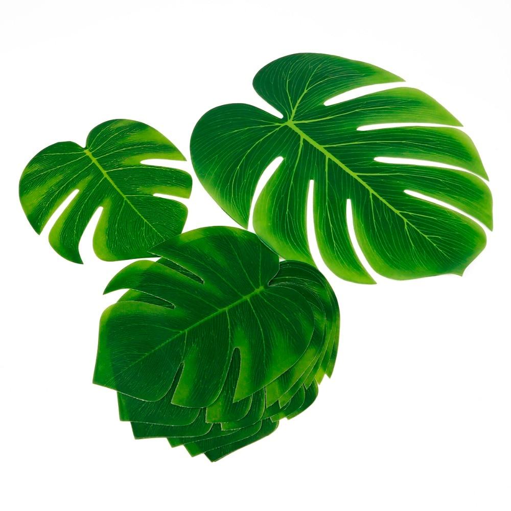 10pcs 12pcs Green Artificial Tropical Palm Leaves Hawaiian Luau Party Jungle Beach Theme Party Decoration Hawaii 5