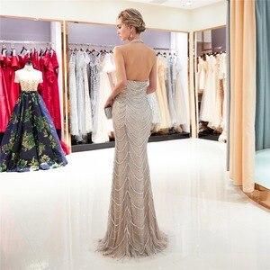 Image 3 - JaneVini יוקרה כבד ואגלי תחרת בת ים אמא של הכלה שמלות הלטר שרוולים סקסי ערבית פורמליות ארוך ערב שמלות