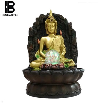 110V-220V Chinese Style Tabletop Water Feature Feng Shui Lucky Buddha Statue Figurine Flowing Water Fountain Craft Business Gift