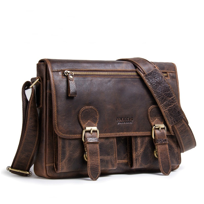 Hot Crazy Horse Leather Briefcases For Document Totes Messenger Bag Men Shoulder Bags Business Men Briefcase Laptop Bag