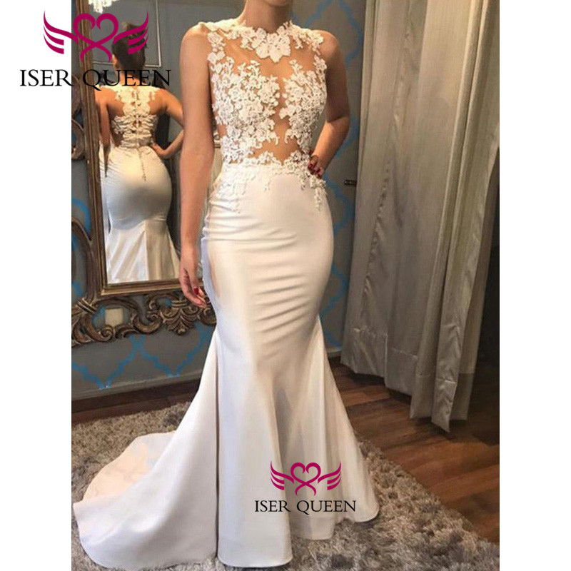 Embroidery And Appliques Satin Mermaid Wedding Dress Illusion Bride Dress 2020 Spanish Style Button Back Design Mermaid W0591