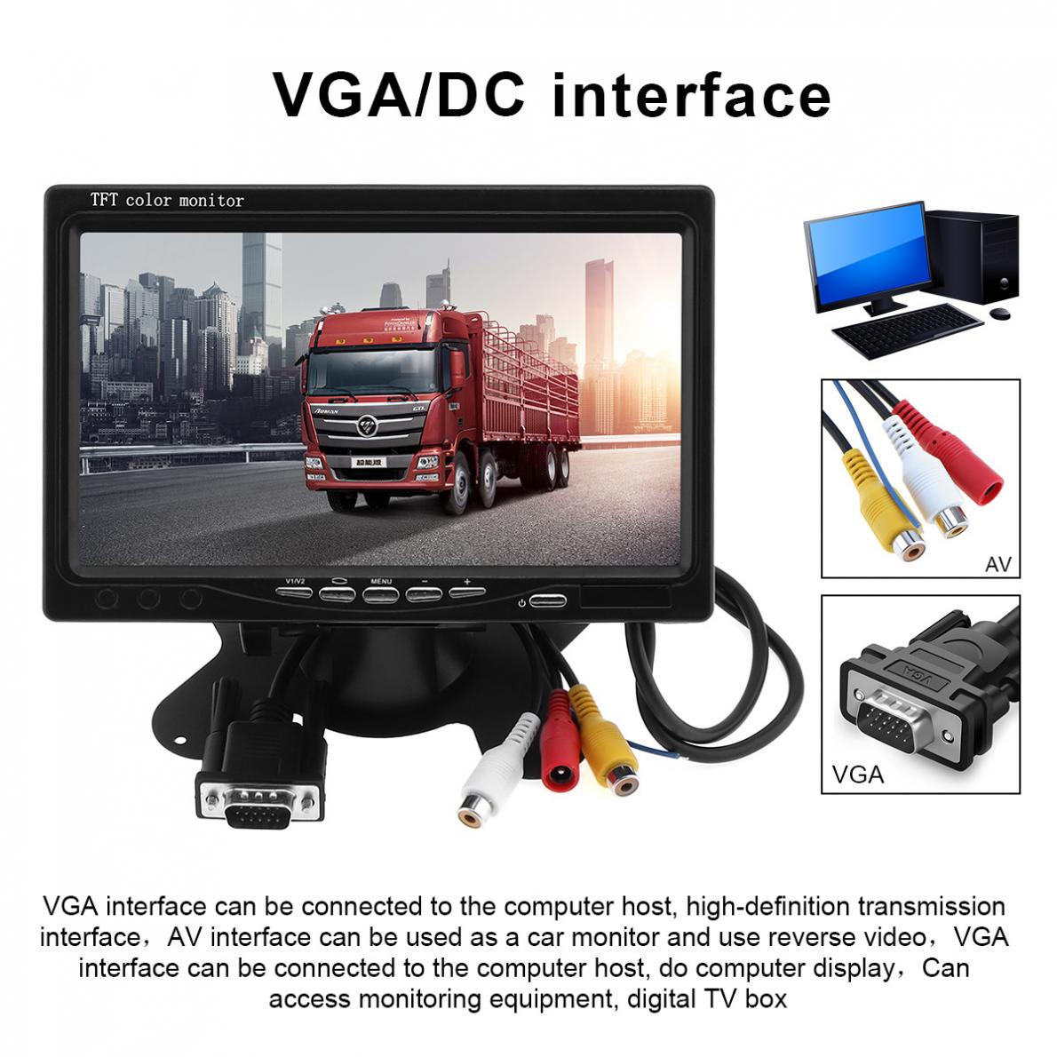 7 Inch 1024x600 12V HD TFT LCD Car VGA Home Monitor Bright Color VGA Interface AV Auto Video Player PAL / NTSC / SCAME-in Car Monitors from Automobiles & Motorcycles    1