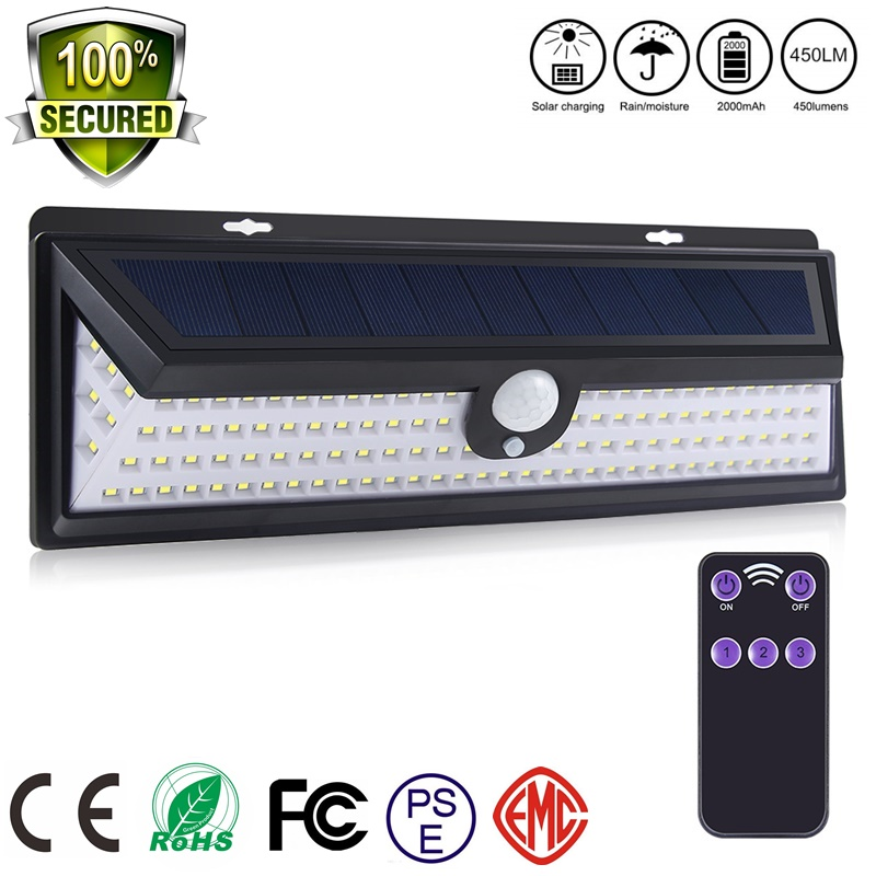 Solar 118 LED PIR Motion Sensor Lights Outdoors IP65 Waterproof Solar Garden Lights Lampe Luces Solares Para Exterior Emergency