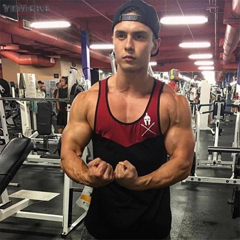 YEMEKE Summer gyms   Tank     Top   Men Cotton Singlet Sleeveless Shirt Bodybuilding   Top   Male Muscle Shirt Vest Fitness Clothing Tanktop