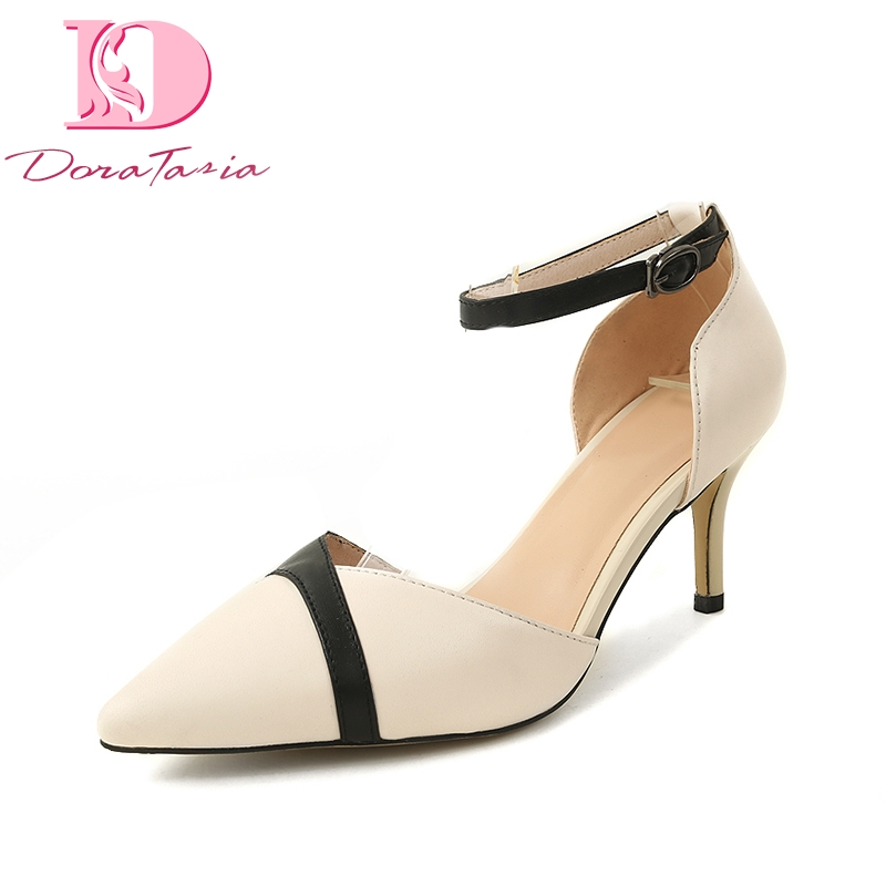 Doratasia Cow Genuine Leather Mix Color Spring Summer Pointed Toe Women Shoes Pumps Thin High Heels Shoes Woman lapolaka cow genuine leather mix color spring summer pointed toe women shoes pumps thin high heels shoes woman
