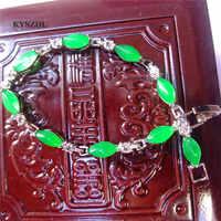 KYSZDL Bela liga Inserir de pedra verde natural pedra pulseira de prata pulseira Mulheres presente da jóia requintado frete grátis