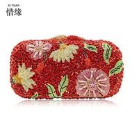 Luxury Pink Diamond Flower Rhinestone Bag Red Crystal Vintage Evening Clutches Women Handbag Women Wedding Party