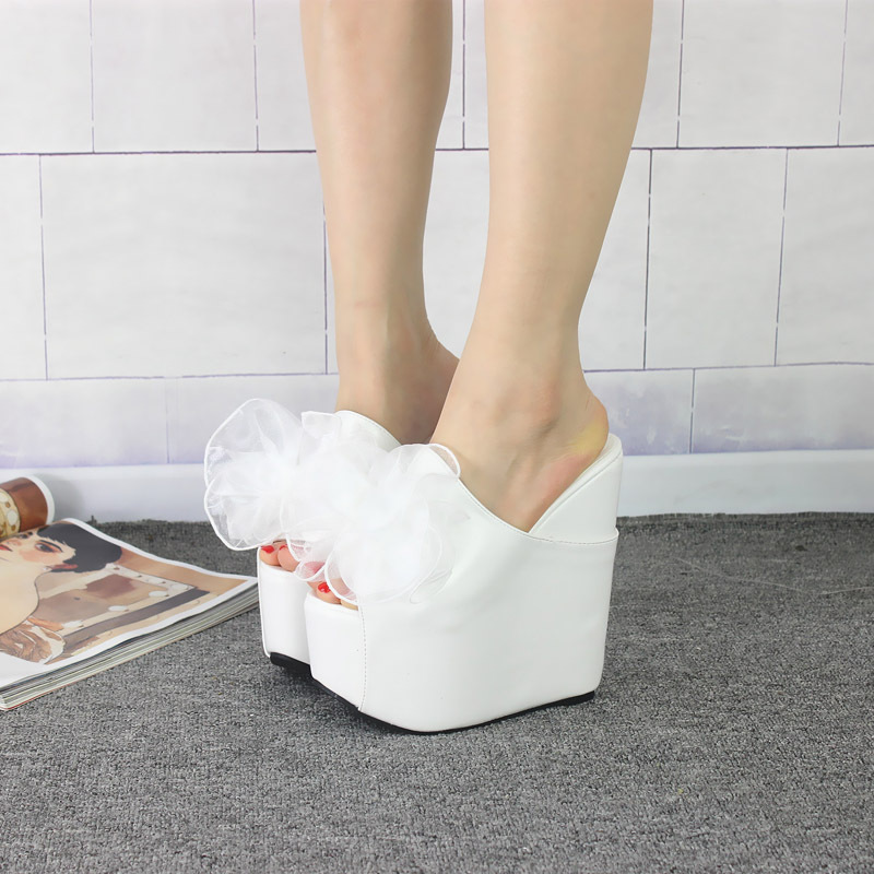 POADISFOO Shoes Stage Night Show Shoes New 17CM Waterproof Platform Loose Cake Slippers Flower Slippers .ZYW-328-17