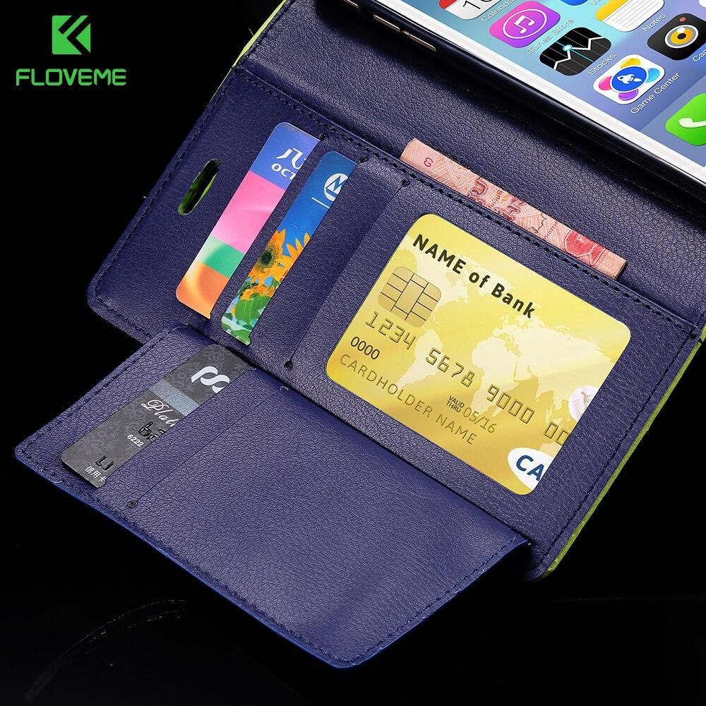 Floveme Роскошные хит Цвет Флип кожаный бумажник Телефонные Чехлы для iPhone 6/6 S 7 7 Plus Multe отделения для карточек стенд Крышка для iPhone 8