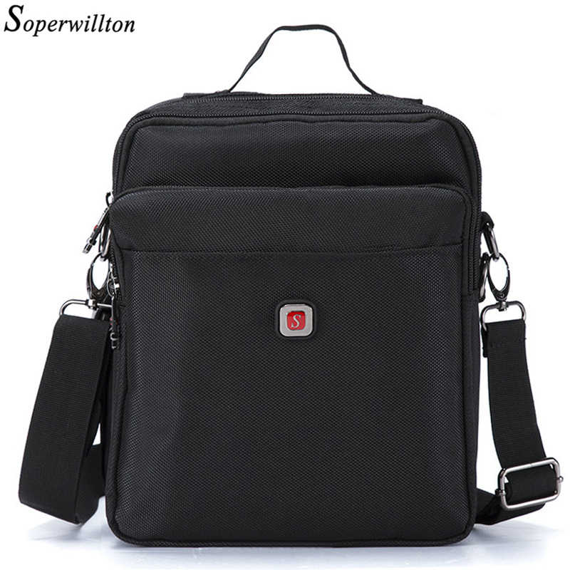 Soperwillton Brand 2019 Men Bag Male Shoulder Bag Oxford 1680D Water-proof Zipper Messenger Bag Black Bolsas Masculina 1052XL