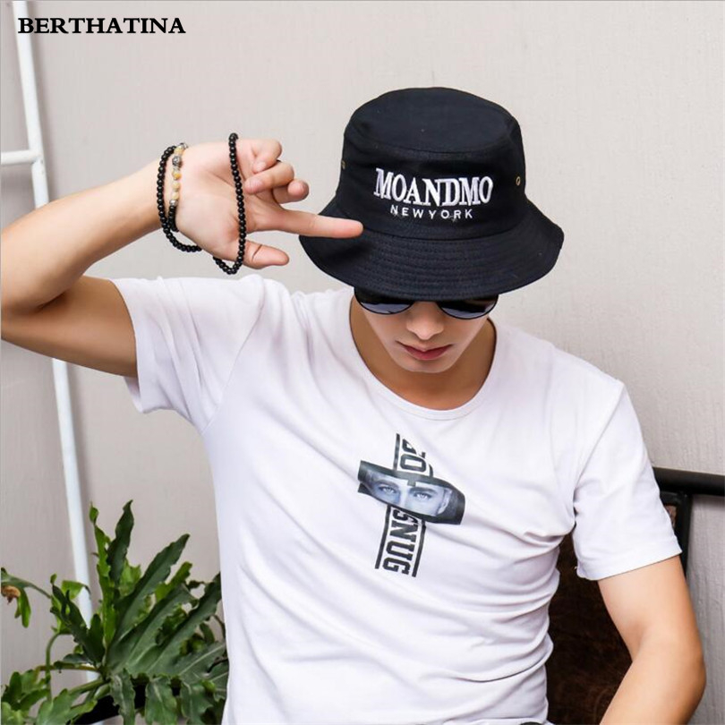 14636e1a 2018 Black White Bucket Hat Fisherman Hats Men Women Outwear Summer Street  Hip Hop Dancer Cotton Panama City Hat