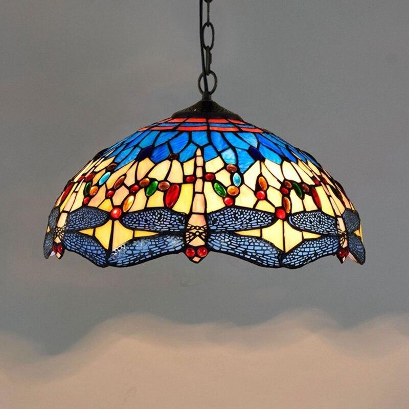 Us 171 19 Tiffany Dragonfly Lamp Glass Shade Pendant Light Bohemian Single Pendant Hanging Light Foam Packing For Hallway Corridor Kitchen In