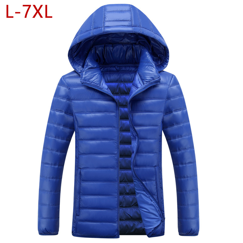 L-7XL Winter Jackets Men 2019 Big Size Hat Detachable Solid Black Warm Coat Down Cotton Padded Thick Parka Men Hombre Abrigo W27