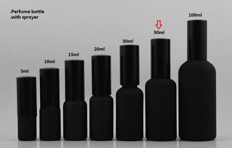 аптовая 50шт 50ml чорны матавае падарожжа шматразовага флакон духаў з чорным Распыляльнік спрэй / туман, 50мл шкло парфумернай ўпакоўкі