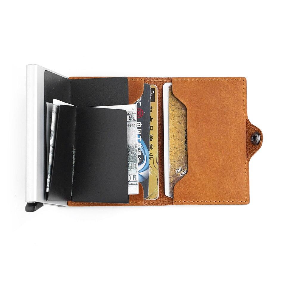 2018 porte-carte de crédit d'affaires hommes et femmes RFID Vintage boîte en Aluminium Crazy Horse véritable portefeuille de carte de voyage en cuir - 6