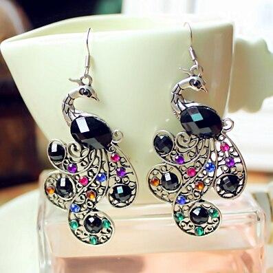 H:HYDE Bohemian Style Lady Women Vintage Retro Crystal Peacock Earrings Drop Earring 2017 Hot Sale Fine Jewelry