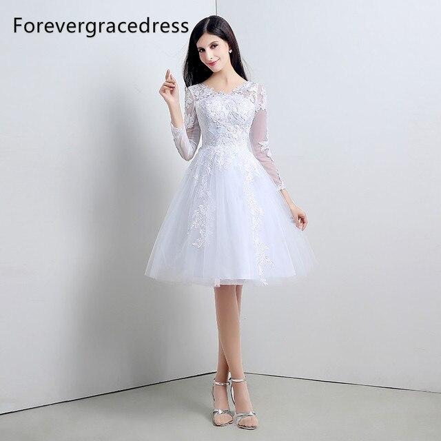 hot sale online d695f 80d0e US $89.7 35% di SCONTO|Forevergracedress Bianco Corto Abito Da Sposa Una  Linea di Pizzo Tulle Maniche Lunghe Bridal Gown Plus Size Custom Made in ...