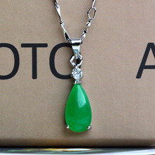 925 silver jade pendant Pendant Necklace clavicle Malay female diamond drop tears