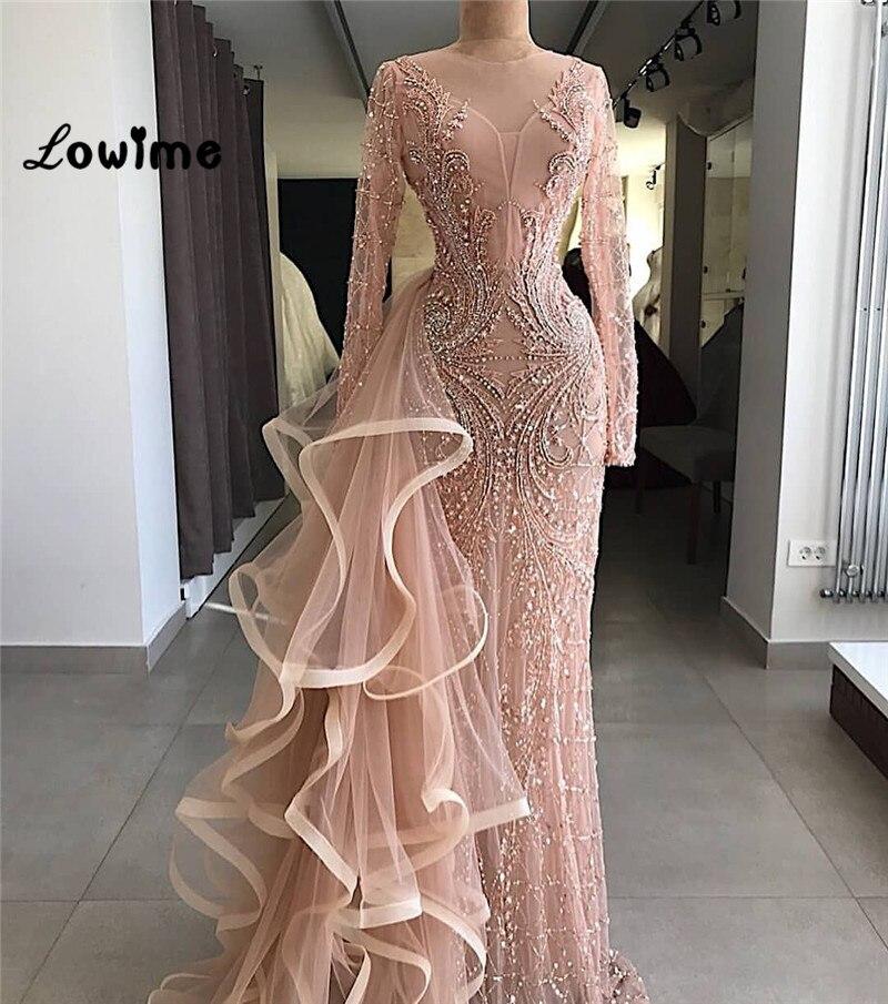 Couture Sirène Formelle Robes de Soirée À Manches Longues À La Main En Cristal Perlé Tulle Illusion Robe De Soirée Pour Les Mariages 2018