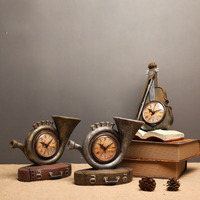 Resin miniature chime desk decoration accessories violin clock room ornament vintage home decor Small snail desk decoration